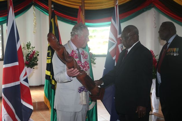 The Prince of Wales arrives at the airport on the South Pacific island of Vanuatu, during his tour of...