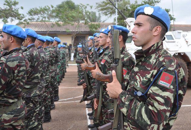 Des casques bleus marocains à Bangui, en Centrafrique, le 15 septembre
