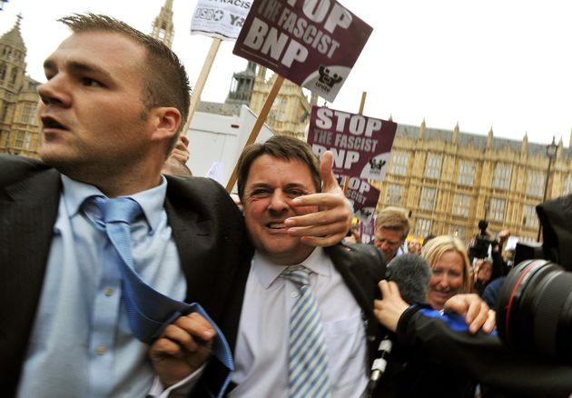 Ex-party leader Nick Griffin (pictured abandoning a press conference in June 2009 after protestors threw eggs) was an MEP and appeared on the BBC's Question Time in the party'sheyday
