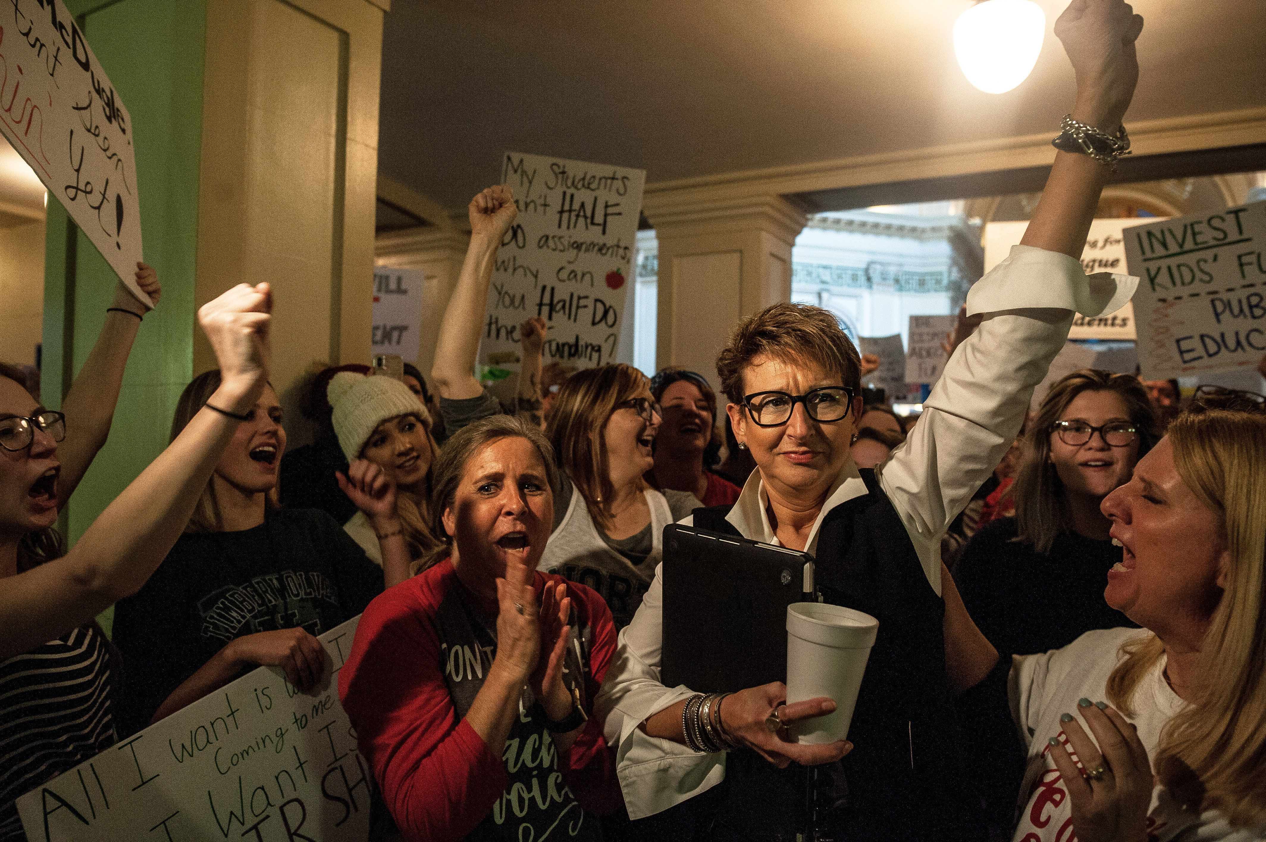 Oklahoma teachers rallied at the state Capitol to demand more school funding.
