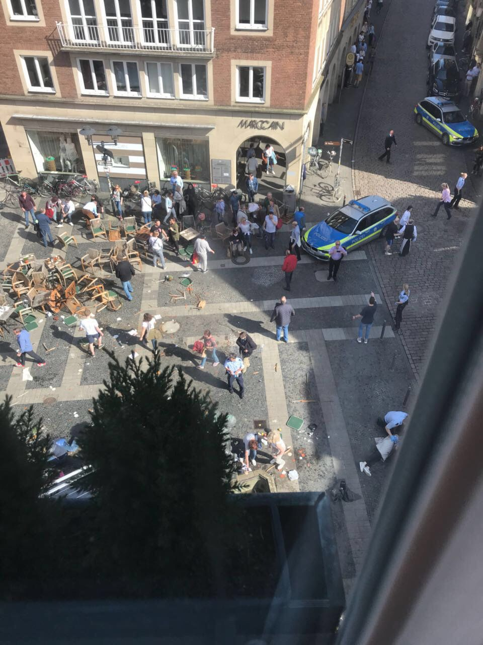 A vehicle drove into pedestrians in Muenster, Germany, on