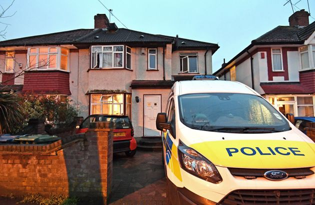 Police at a house in Edgware, north London where two men died after a possible carbon monoxide leak.