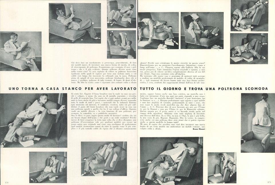 1944년 10월, 'Domus' 202호를 통해 발표된'불편한 안락의자에서 편한 자세