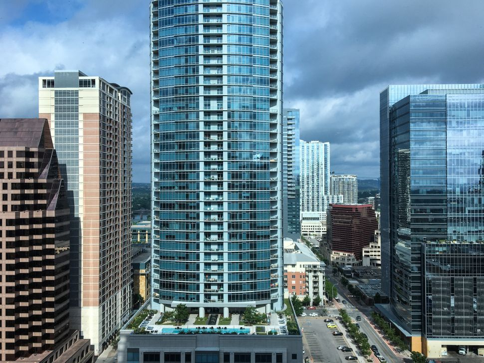 New downtown high-rise condominiums and office spaces recently built in Austin, Texas, which is experiencing a boom based on