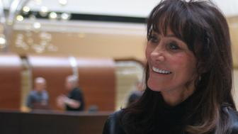 Diane Hendricks, chief executive officer of ABC Supply Co., smiles during a company meeting at a hotel in Rosemont, Illinois, U.S. on Wednesday, March 4, 2015. Hendricks, whose ABC Supply is based in Beloit, Wis., is  Wisconsin Republican Governor Scott Walkers biggest individual political benefactor. Photographer: John McCormick/Bloomberg via Getty Images *** Local Captiion *** Diane Hendricks