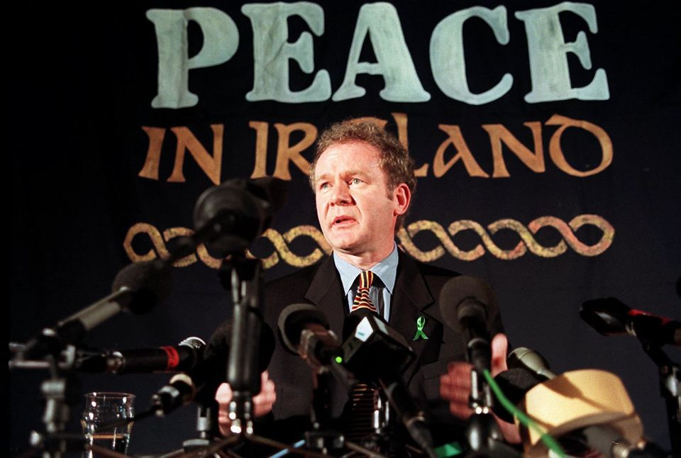 Martin McGuinness answering questions during a press conference in London, 26 February