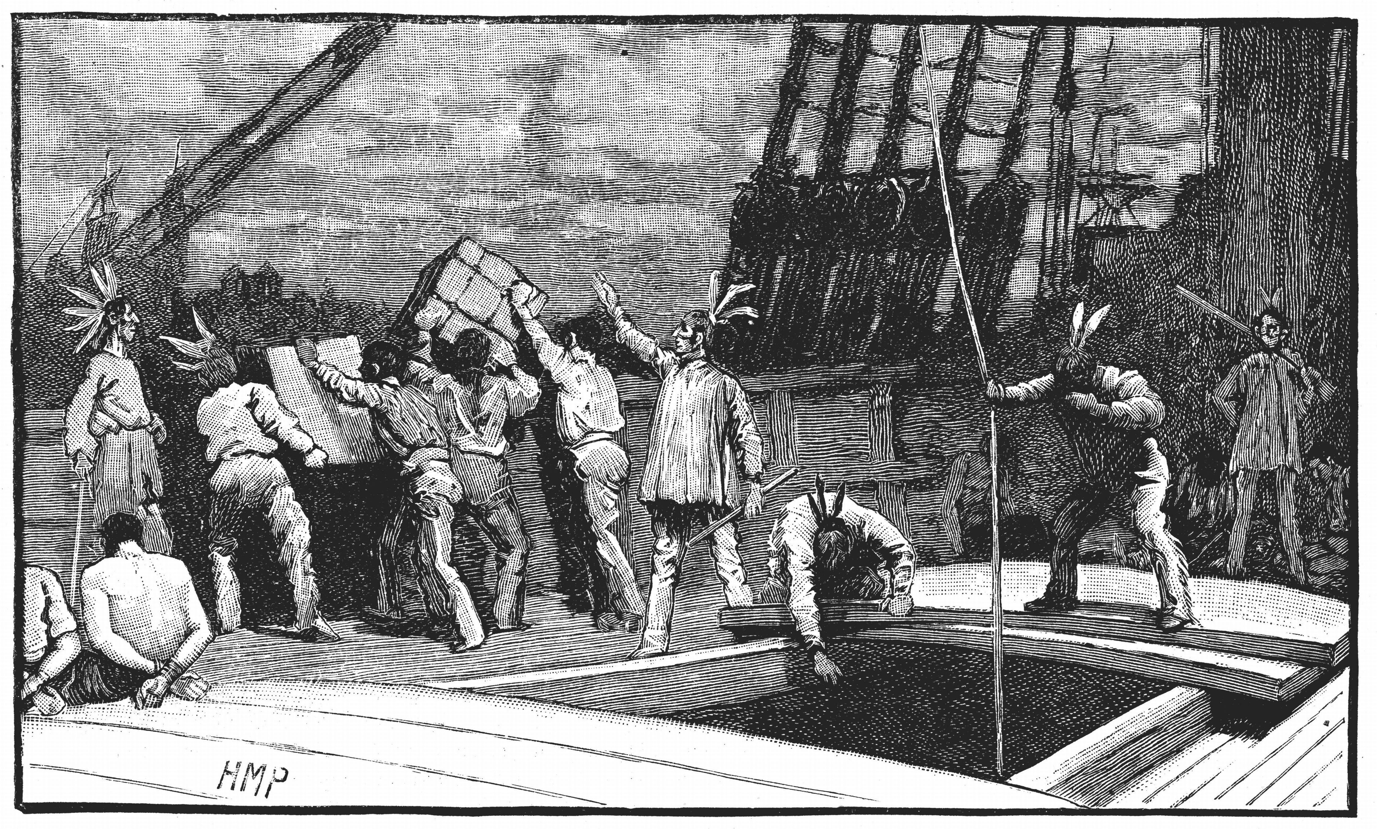 Boston Tea Party, 26 December 1773. Inhabitants of Boston, Massachusetts, dressed as American Indians,  throwing tea from vessels in the harbour into the water as a protest against British taxation. 'No taxation without representation'Late nineteenth centuryWood engraving. (Photo by: Photo12/UIG via Getty Images)