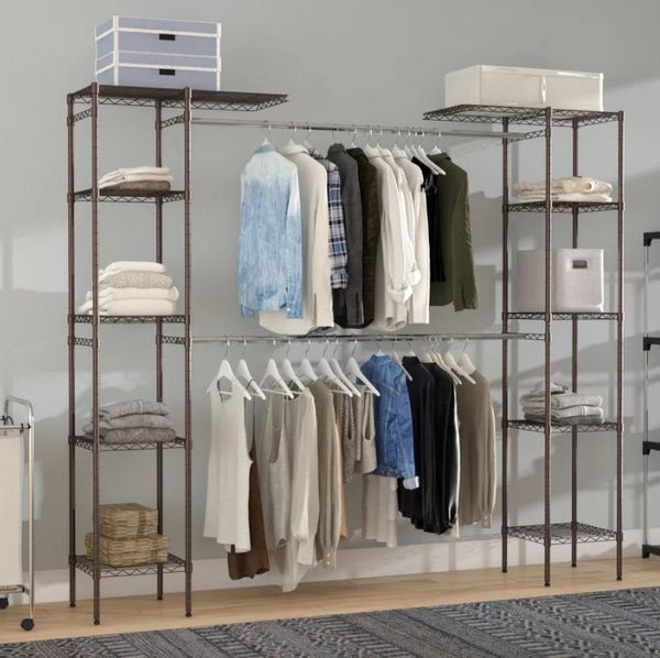 An expandable closet is perfect for any size room being that it's adjustable and customizable. Use bins to cover up clothing,
