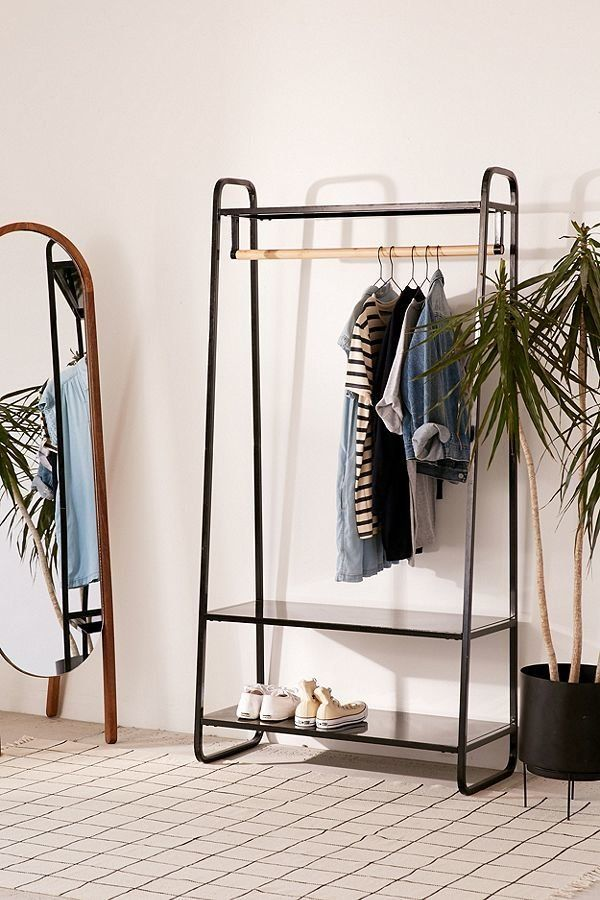 If you've got a smaller wardrobe or just looking for a place to hang items you grab more frequently, a garment rack is a chic