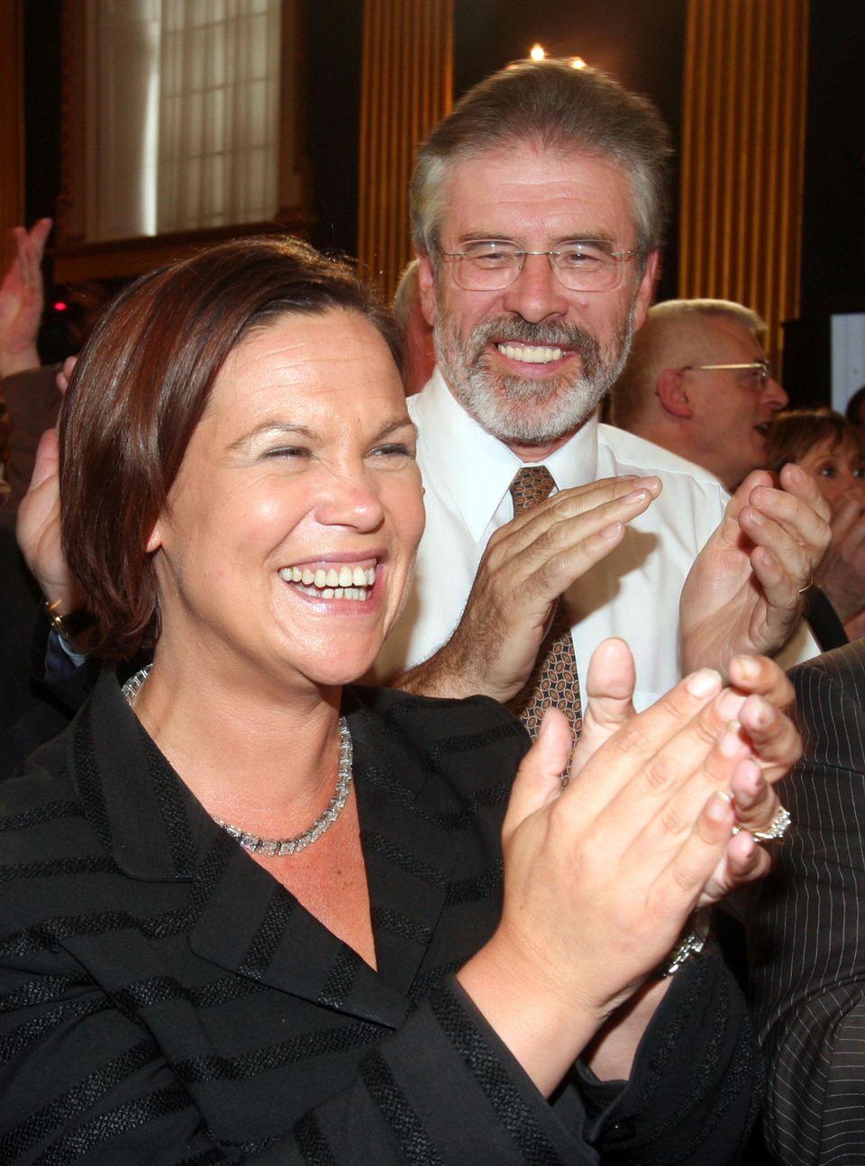 Sinn Fein leader Mary Lou McDonald with former leader Gerry
