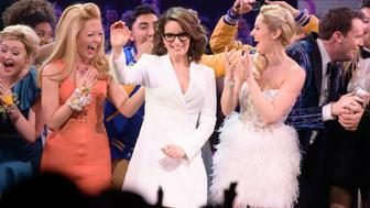 NEW YORK, NY - APRIL 08: Tina Fey and the cast of 'Mean Girls' take the stage during the 'Mean Girls' on Broadway opening night at the August Wilson Theatre on April 8, 2018 in New York City.  (Photo by Noam Galai/Getty Images)