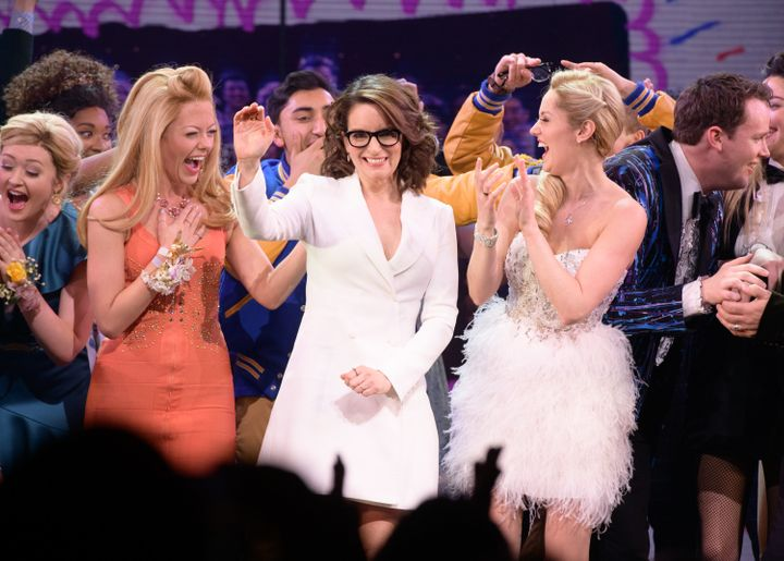 Tina Fey and the cast of 'Mean Girls' at the end of opening night.