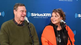 NEW YORK, NY - MARCH 27:  (L-R) Actors John Goodman and Roseanne Barr speak during SiriusXM's Town Hall with the cast of Roseanne on March 27, 2018 in New York City.  (Photo by Astrid Stawiarz/Getty Images for SiriusXM)