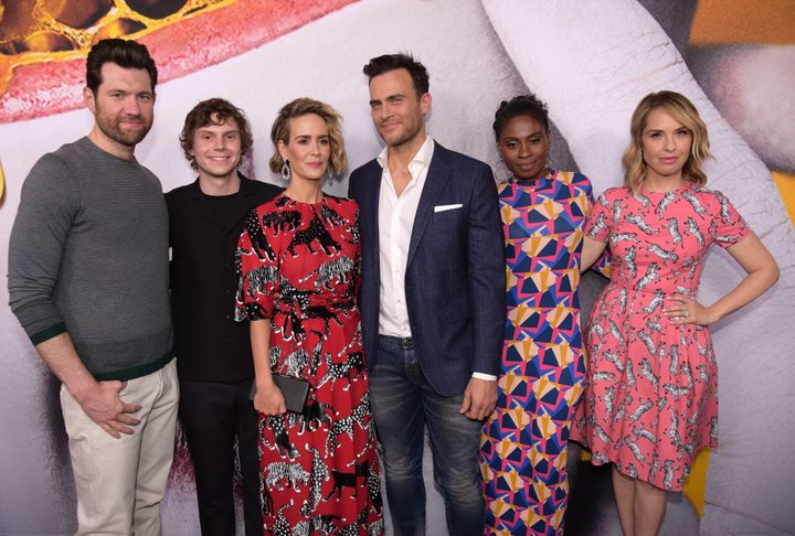 Billy Eichner, Evan Peters, Sarah Paulson, Cheyenne Jackson, Adina Porter and Leslie Grossman attend the 'American Horror Sto