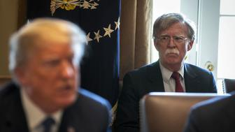 John Bolton, national security advisor, listens as U.S. President Donald Trump speaks during a cabinet meeting at the White House in Washington, D.C., U.S., on Monday, April 9, 2018. Trump promised U.S. farmers that they will emerge from a trade dispute with China better off despite threats from Beijing to impose tariffs targeting American agricultural products. Photographer: Al Drago/Bloomberg via Getty Images
