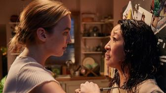 Jodie Comer plays Villanelle and Sandra Oh portrays Eve in Killing Eve