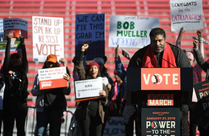 Civil rights activist Rev. William Barber II speaks during the launch of the Power to the Polls voter registration tour in La