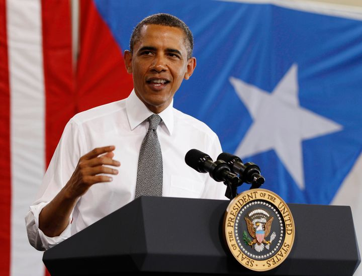 Then-President Barack Obama speaks at a welcoming event after arriving in Puerto Rico on June 14, 2011. The Obama administration never moved seriously to reconsider Puerto Rico's status.