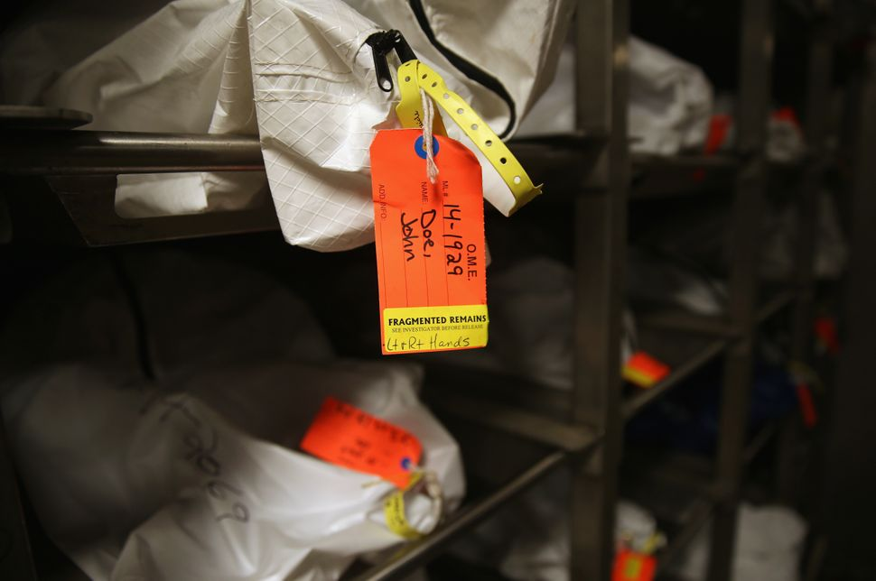 Human remains in body bags lie in the refrigerated morgue of the Pima County Office of the Medical Examiner in Tucson, Arizon