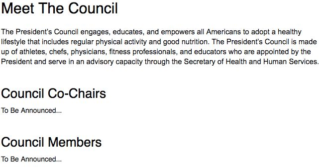 Screenshot from the website of the President's Council on Fitness.