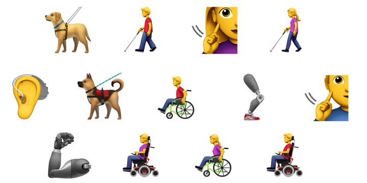 Compilation of emojis showing accessibility