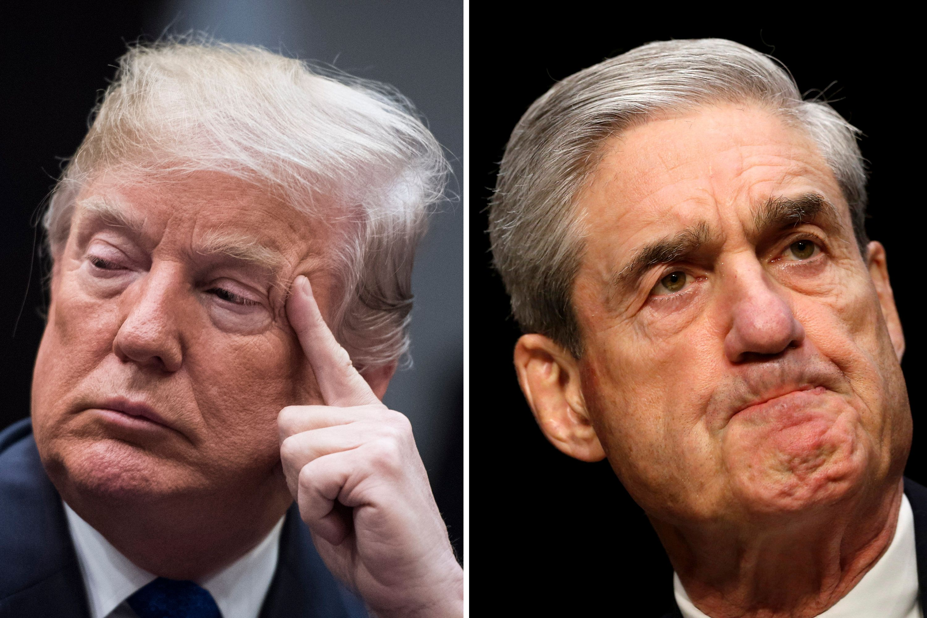 Left, President Donald Trump at the White House on Jan. 04, 2018. Robert Mueller on Capitol Hill in 2013. (Jabin Botsford/The Washington Post via Getty Images; Kevin Lamarque/Reuters)