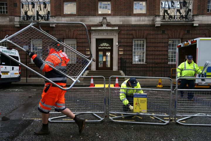 Preparations outside St. Mary's Hospital in London.