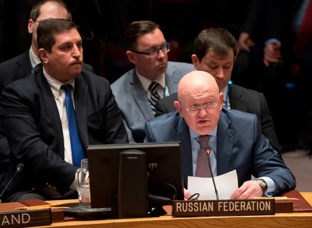 Russian Ambassador to the UN Vassily Nebenzia speaks during the United Nations Security