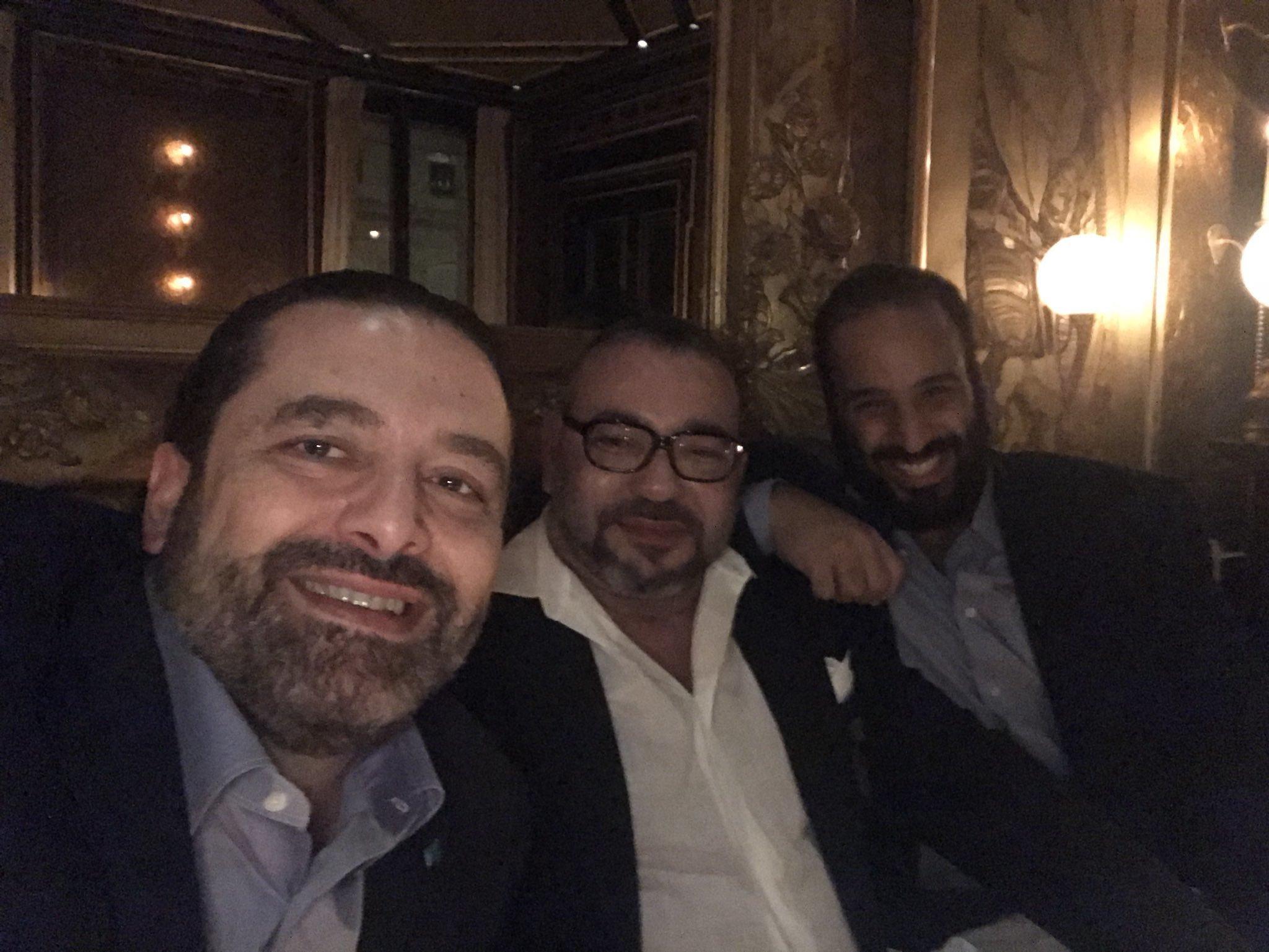 Le roi Mohammed VI, MBS et Saad Hariri réunis le temps d'un dîner (et d'un selfie) à Paris