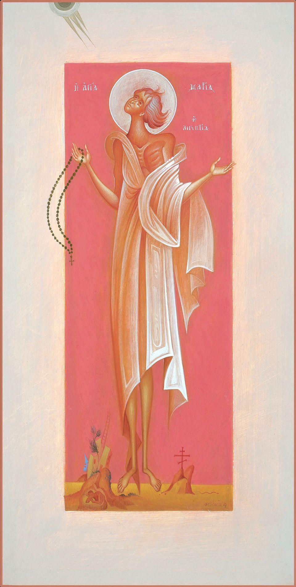 Saint Mary of Egypt. Αυγοτέμπερα σε