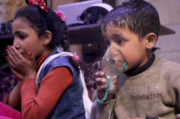 Syrian children receive medical treatment after Assad regime forces allegedly conducted poisonous gas...