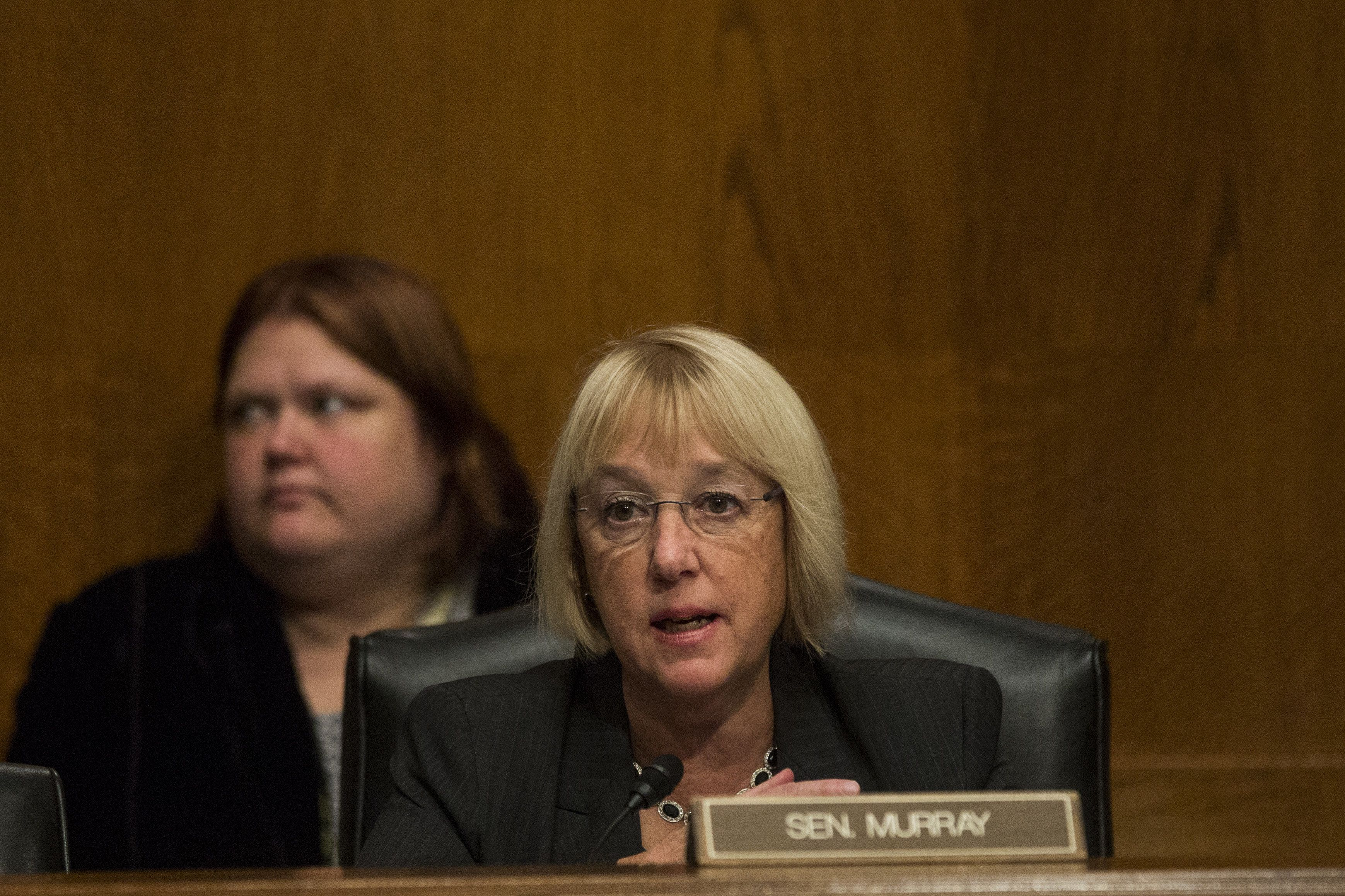 Senator Patty Murray, a Democrat from Washington and ranking member of the Senate Health, Education, Labor and Pensions (HELP) Committee, speaks during a hearing in Washington, D.C., U.S., on Thursday, Oct. 19, 2017. America's Health Insurance Plans said the bipartisan measure crafted by Senator Lamar Alexander and Murray will provide American consumers with a more stable insurance market, states with more flexibility to meet the needs of their citizens, and more choice and more affordable care. Photographer: Zach Gibson/Bloomberg via Getty Images