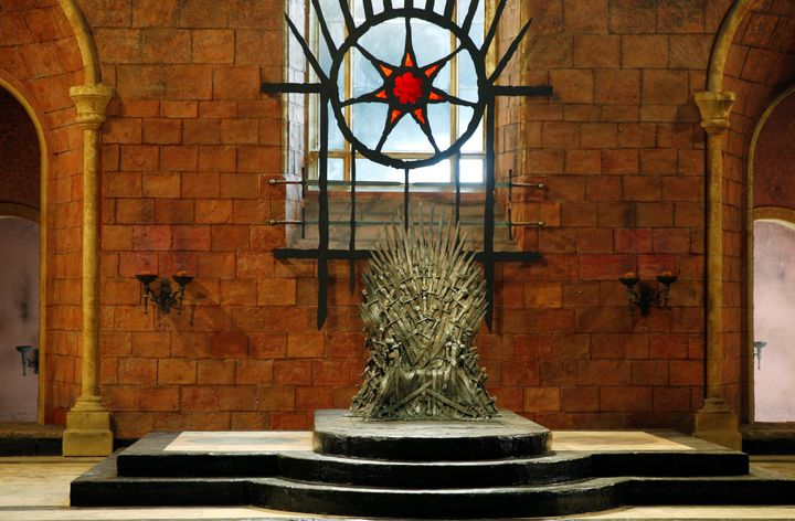 The Iron Throne is seen on the set of the television series Game of Thrones in the Titanic Quarter of Belfast, Northern Irela