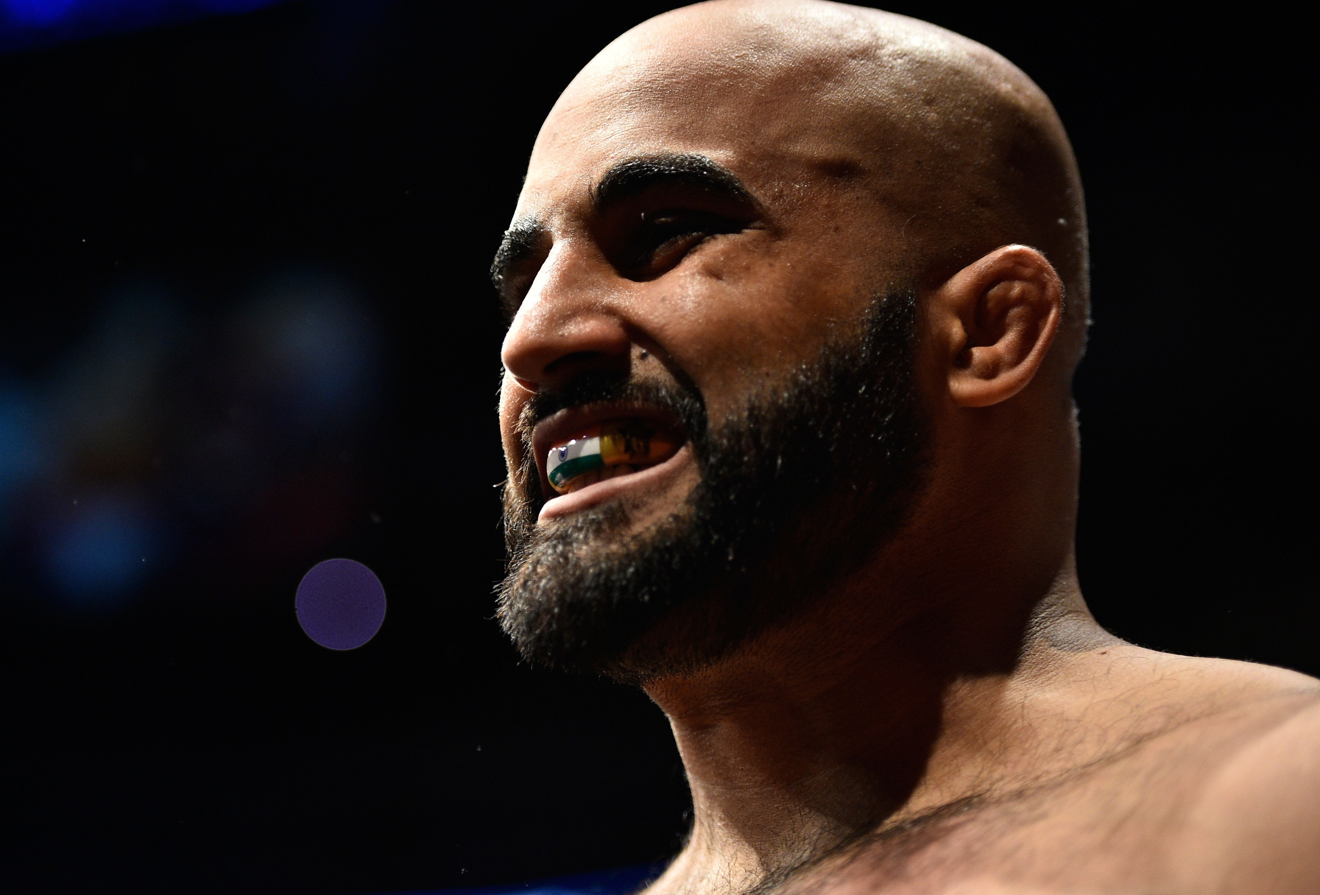 EDMONTON, AB - SEPTEMBER 09:  Arjan Singh Bhullar of Canada prepares to enter the Octagon before facing Luis Henrique of Brazil in their heavyweight bout during the UFC 215 event inside the Rogers Place on September 9, 2017 in Edmonton, Alberta, Canada. (Photo by Jeff Bottari/Zuffa LLC/Zuffa LLC via Getty Images)