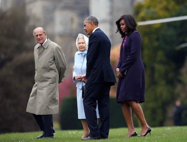 Prince Philip, Queen Elizabeth II, then-President Barack Obama and first lady Michelle Obama at Windsor...