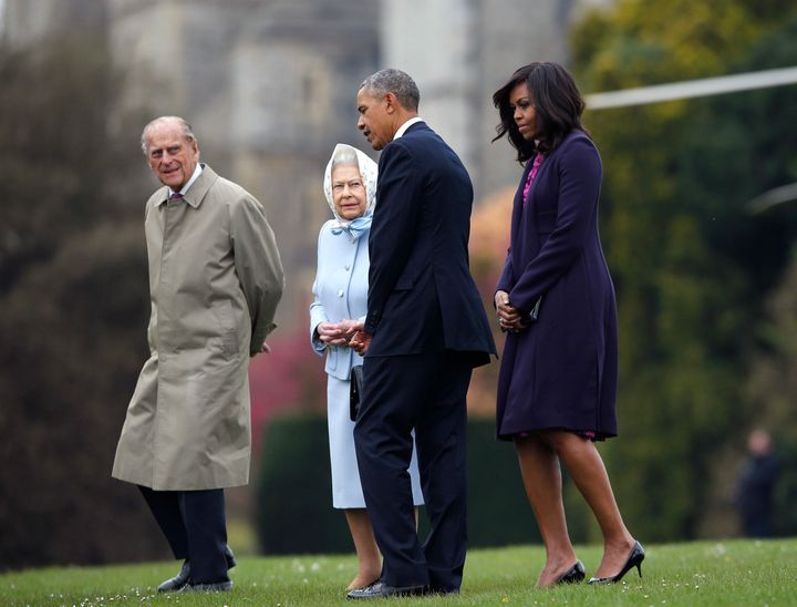 Prince Philip, Queen Elizabeth II, then-President Barack Obama and first lady Michelle Obama at Windsor Castle on April 22, 2016.