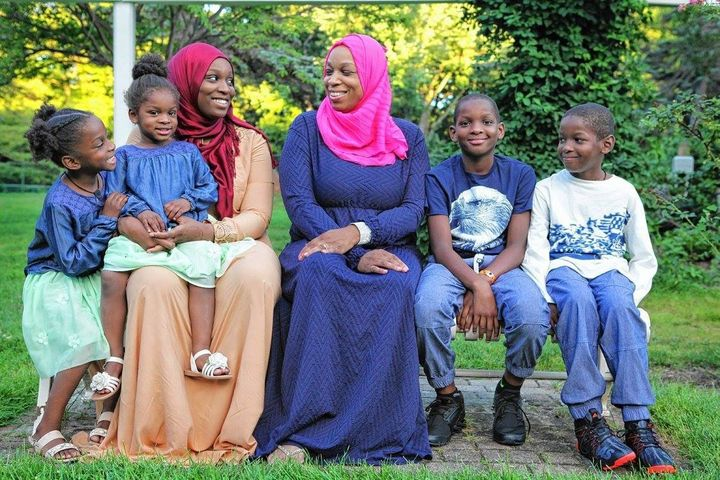 Tahirah Amatul-Wadud, center, with five of her seven children. She says the safety of her husband and especially her son