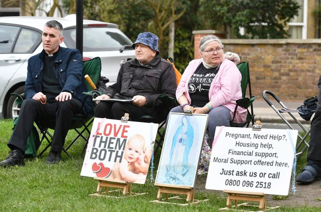 Pro-life demonstrators outside the Marie Stopes clinic in Ealing