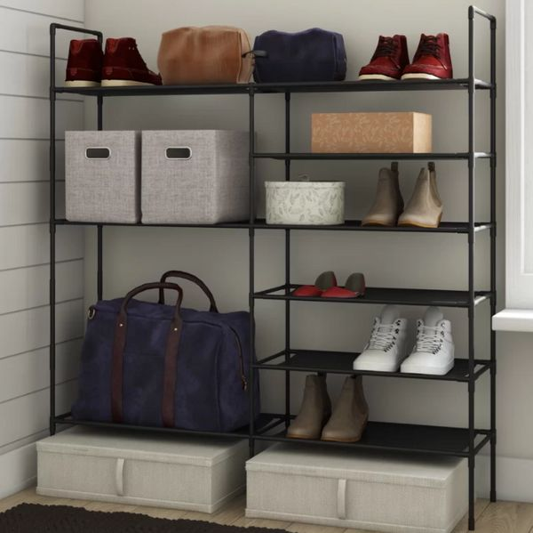 This stackable shoe rack can fit up to 27 pairs, but also comfortably fits storage boxes, clothing, and other toiletries. Get