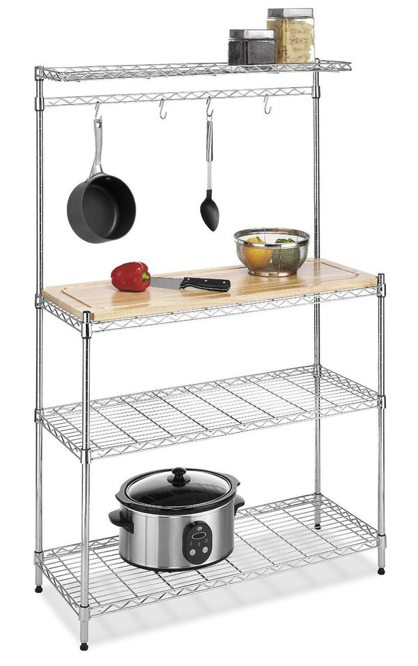 If you're without a countertop in your kitchen and lacking storage space, this inexpensive baker's rack is the solution to yo