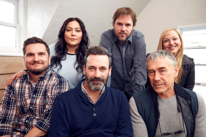 """Mike Weber, left, Shivani Rawat, Jon Hamm, Brad Anderson, Tony Gilroy and Monica Levinson from the film """"Beirut"""" at the YouTube x Getty Images Portrait Studio on Jan. 22 in Park City, Utah."""