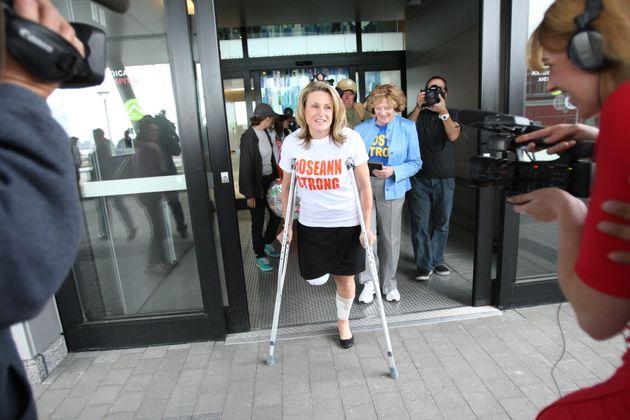 Marathon bombing survivor Roseann Sdoialeaves Spaulding Rehabilitation Hospital in Boston on May...