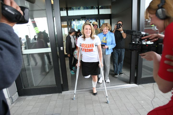Marathon bombing survivor Roseann Sdoia leaves Spaulding Rehabilitation Hospital in Boston on May 14, 2013.