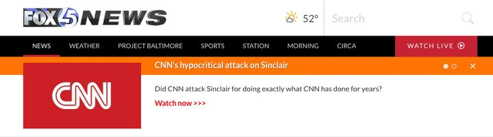 A Sinclair station in Baltimore linked prominently to the company's CNN attack video on Tuesday.