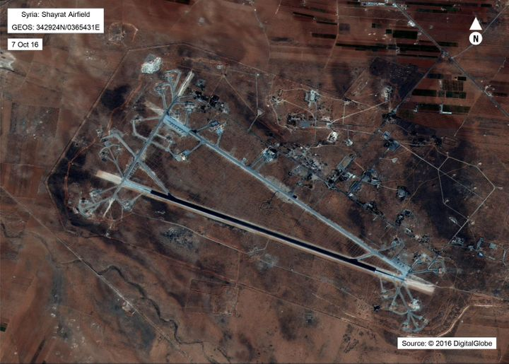 Shayrat Airfield in Homs, Syria is seen in this DigitalGlobe satellite image released by the U.S. Defense Department on April