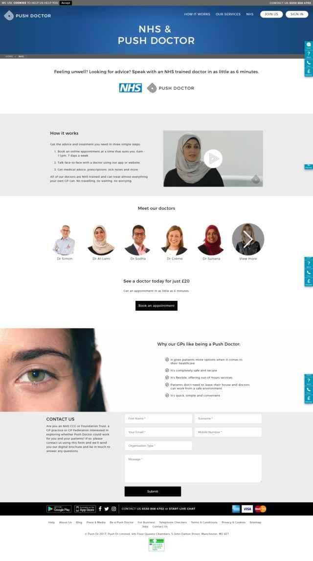 A screenshot of the Push Doctor website.