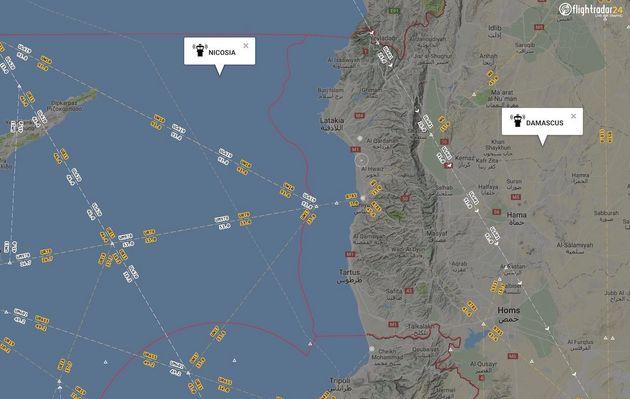 지중해 동부 / 니코시아(사이프러스) 항공관제구역(FIR). 바로 옆에 다마스쿠스(시리아) 항공관제구역이