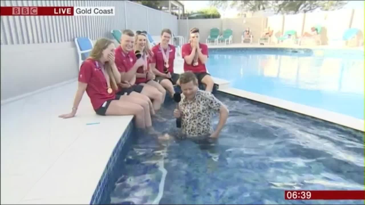 BBC Breakfast Presenter Falls Into Swimming Pool During Live