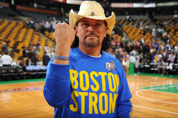 Carlos Arredondo, at a Boston Celtics game in 2013, has been training for Monday's marathon since January.