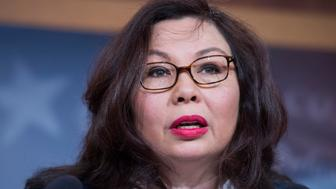 UNITED STATES - MAY 9: Sen. Tammy Duckworth, D-Ill., conducts a news conference in the Capitol to call on the Senate to address tax issues veterans will face in the American Health Care Act on May 9, 2017. (Photo By Tom Williams/CQ Roll Call)